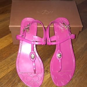 COACH - Hot Pink & Gold Jelly Sandal Size 7